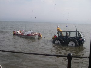 The boat recovered at Rhyl beach.