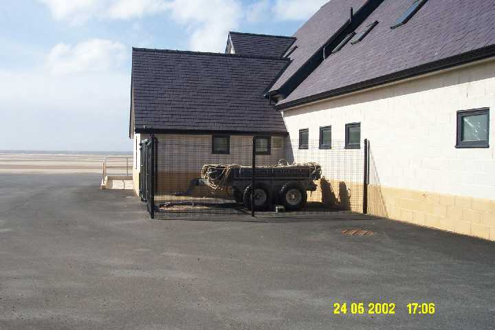 The new compound, completed on 24/5/2002, to house the Mersey recovery trailer and gear, any other sundry items. The original place for this was between the ILB and Mersey inside the boathouse, but with the addition of the Landrover , there is no room in the main boathouse.