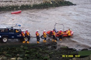 Rhyl ILB about to launch with Flint crew at Greenfield, to recover Flint ILB.