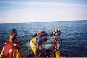 November 2001.Joint exercise with Flint ILB. Rhyl & Flint ILBs towing Rhyl AWB.