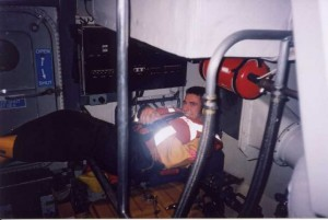 Rhyl crewmember John O.Connor acting as casualty in engine room of Rhyl AWB for exercise with Flint.