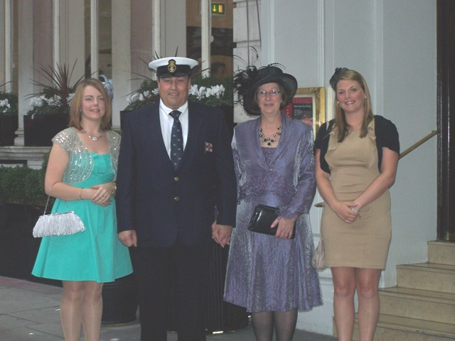 Paul, Mary, and his daughters Karra (left) and Danielle (right) outside their hotel.