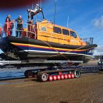 Relief Shannon lifeboat and kit at Rhyl for crew training.