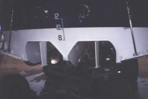 Showing propellers in tunnels,with rudders.Also showing trim tabs outside of tunnels,to improve boat's attitude to the seas,keeping the bow up or down as necessary.
